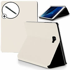 White Clam Shell Smart Case Cover Samsung Galaxy Tab A 10.1 SM-T580 + Stylus
