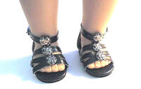 """Doll Clothes 18"""" Sandals Black Shoes Ankle Strap Fits American Girl Dolls"""