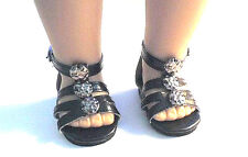 "Doll Clothes AG 18"" Sandals Black Shoes Ankle Strap Made For American Girl Dolls"