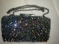 Sondra Roberts Glass Bead Minaudiere Evening Bag clutch purse jewelry bag spark