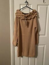 New Towie Wool Beige Off The Shoulder top Long Jumper dress Size M