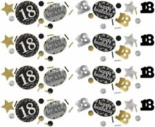 18TH to 70th Birthday Confetti Table Decoration Black Silver Gold Party