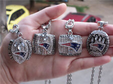 4pcs New England Patriots Championship Ring Pendant Necklace With Chain Men Gift