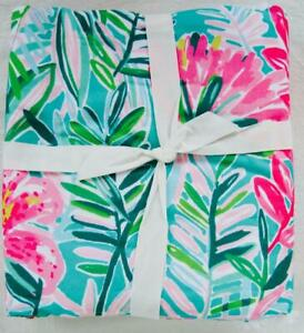 """Pottery Barn Lilly Pulitzer Jungle Lilly KING Duvet Cover Tassels 108""""x92"""" NWOT"""