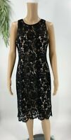 White House Black Market Womens Lace Sheath Dress Size 8 Sleeveless Modern