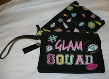 No Boundaries Set of 2 Zip Up Make Up Bags Glam Squad Wristlet Black NEW