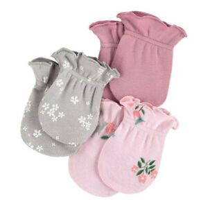 Carters 3 Pack No Scratch Mittens Girls Pink Floral New