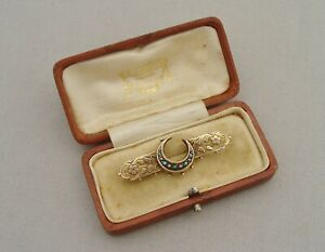 ANTIQUE VICTORIAN CRESCENT MOON BROOCH 9CT GOLD SEED PEARL TURQUOISE BOXED 1893