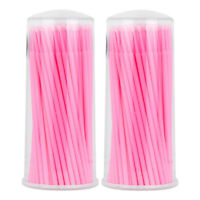 200pcs Micro Brush Swab Applicators Eyelash Extension Mascara Wands Pink