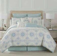 Eva Longoria Celeste Queen Comforter Set in Mint Blanket Bed Skirt Pillowcases