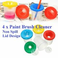 4Pc Non Spill Water Pots Lid & Stoppers Artist Paint Brush Holder Cleaner