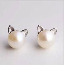 Cat Natural Pearl Earrings with Sterling Silver For Love Heart Gift- ER85