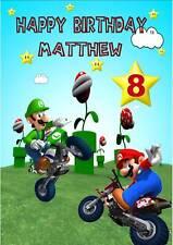 Personalised Super Mario Birthday Card 4 Designs