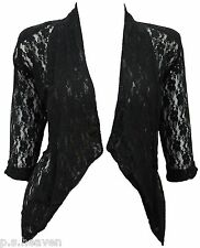 Womens New Dressy Bolero Size 16 - 26 Shrug Top Lace Jacket Black White *LICK*