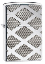 Zippo Armour High Polish Chrome Diamond Pattern Deep Carved 28637 New