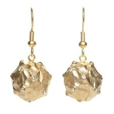 Yellow Gold-Tone White CZ Hammered Ball French Wire Dangle Earrings