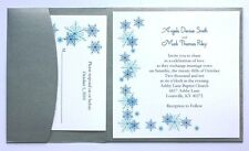 100 Personalized Custom Silver Winter Snowflake Pocket Wedding Invitations Set