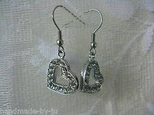 Surgical Steel Earwire Drop Dangly Earrings Silver Tone Rhinestone HEART
