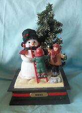 """Christmas Musical Snowman in a Holiday Scene 1993 Holiday Creations 12"""" Tall"""