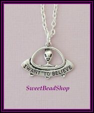 Silver Plated Necklace with UFO Spaceship Alien 'I WANT TO BELIEVE' Pendant