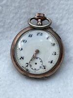 Antike Taschenuhr 0,800er Silber Mech. Handaufzug #345227, läuft an