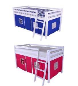 "Shorty Cabin Bed 2FT 6"" Mid sleeper Loft Bunk Kids Childrens New Wooden Pine"