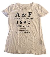 Abercrombie & Fitch Women's T Shirt White Crew Small Short Sleeve 100% Cotton
