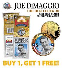JOE DiMAGGIO Golden Legends 24K Gold Plated State Quarter Coin BUY 1 GET 1 bogo
