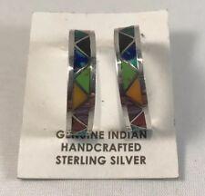 Native American Zuni Handmade Multicolor Inlay Sterling Silver Half Hoop Earring