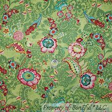 BonEful Fabric Cotton Quilt Green Leaf White Flower Paisley Cottage Girl L SCRAP