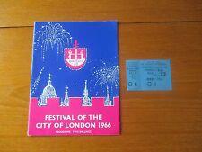 1966 FESTIVAL OF THE CITY OF LONDON SYMPHONY ORCHESTRA PROGRAMME + TICKET