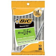 Bic Round Stic Xtra Life Medium Ballpoint Pen, Black Ink 10 ea