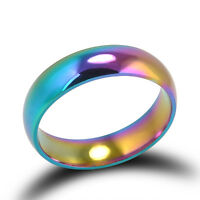 Rainbow Colorful Titanium Stainless Steel Rings Wedding Band 6mm Ring Fashion