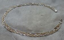 """Tri-Color Sterling 925 Braided 17 1/2"""" 6 Strand Chain Necklace"""