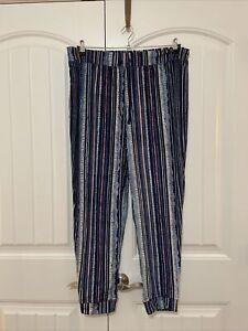 Cuddl Duds Petite Ultra Plush Velvet Fleece Jogger Pants - Navy/Paint Stripe P1X