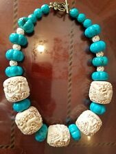 Gorgeous handmade artisan necklace with turquoise magnesite and carved elements