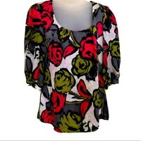Trina Turk Floral Silk Top Colorful Roses Square Neck Quarter Sleeves Women M