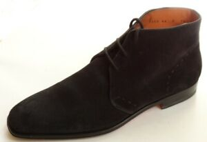 $675  SANTONI Men's Shoes/ Boots Size 9.5 M US  Dark Blue Hand Made In Italy