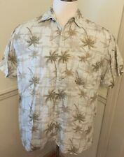 Marc Edwards Men's shirt XL X Lg Short sleeve S/S Linen button Front GUC Palm