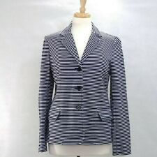 TALBOTS Womens Size L Navy and White Striped Cotton Long Sleeve Casual Blazer