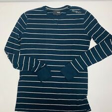 Hurley Pullover Henley Style Shirt Mens XL Blue White Stripped L/S Shirt