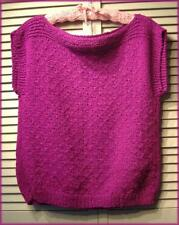 """Bright Magenta Pink Soft Nubby Knit Sweater Vest Top (M) Boat Neck 38"""" bust"""
