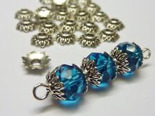 100 pce Metal Antique Silver Etched Flower Bead Caps 8mm Jewellery Making Craft