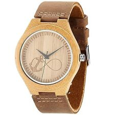 Beats Wooden Masonic Watch cowhide leather strap-Bamboo case etched dial
