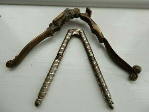 Vtg Elizabeth Regina Brass Nutcracker & HMO Silver Tone Metal Nut/Crab Cracker