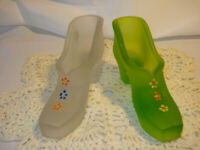 Vintage Pair Westmoreland Frosted Green & Clear Handpainted Flower Slippers