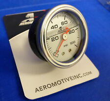 Aeromotive 15633 Fuel Pressure Gauge 0-100 psi Liquid Filled Chrome Bezel 1/8NPT