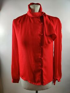 Vintage 90s Women Red Blouse Top High Neck Tie Bow Neck Retro Formal UK 10 S