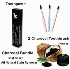 Coconut Charcoal Toothpaste + Charcoal Powder + 3 Color Toothbrush Kit Natural
