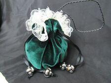 Green Velvet Medieval Renaissance Style Elegant Purse Bag Handmade